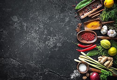 Fondo de fotografía de mármol Comida Pared de Cemento Oscuro Verduras Frutas Cocina Estudio fotográfico fotografía Accesorios de Fondo A4 10x7ft / 3x2,2 m