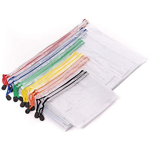 12 Reißverschluss Mesh Dokumententasche, 6 Größen (A4 A5 A6 B4 B5 B6) - Premium Qualität Zipper Pouch- Wasserdicht Zip Beutel Mesh für Kosmetik, Büros Schul Reisezubehör