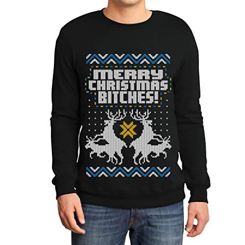 Weihnachtspulli Merry Christmas Bitches Rentiere Herren Sweatshirt Medium Schwarz