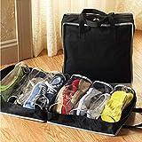 Borse per Bagagliaio Auto 6 Scarpe gita Scolastica Griglia Tessuto Non Tessuto Storage Bag Viaggio Portatile Carry Organizzatore Tote Deposito Pouch (Color : Black)