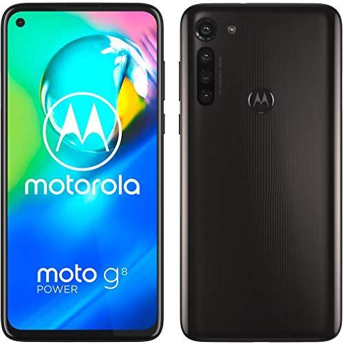 Smartphone g8 Power Dual SIM de Moto g8 (Pantalla MAX Vision HD + de 6.5 Pulgadas, cámara Principal de 16 MP, 64 GB / 4 GB, Android 9, con Marca) con Funda Protectora, Negro Humo