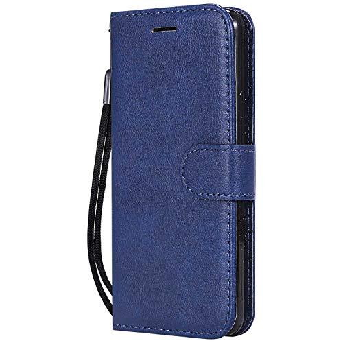 DENDICO Coque Galaxy A3 2016, PU en Cuir Coque Portefeuille Étui Housse, Design Classique TPU Coque pour Samsung Galaxy A3 2016 - Bleu Marin