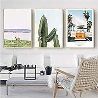 北欧スタイルのパイナップルビーチバスサボテンジャーニーポスターとプリントキャンバス絵画リビングルームの寝室の家の装飾50X70cm20x28inchフレームなし