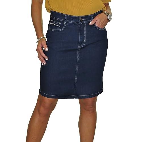 800d9dc1d icecoolfashion ICE Stretch Denim Above Knee Jeans Skirt Indigo Blue 8-20