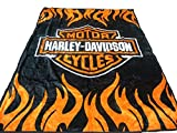 Elegant Comfort Super Soft Plush Classic Black Harley Davidson Blanket/Throw Full or Queen Size -%100
