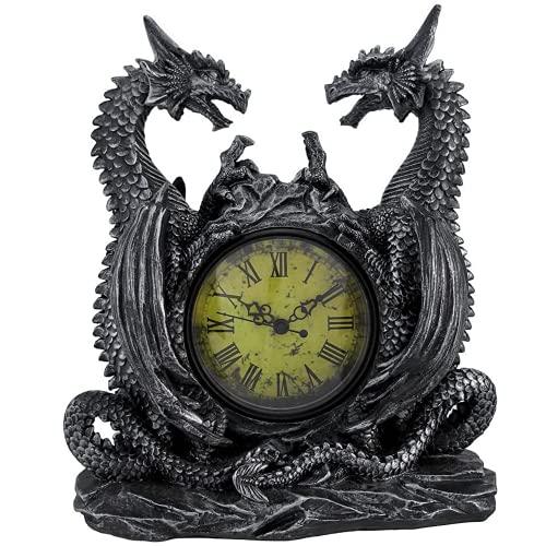 DWK Twin Dragon Gothic Bookshelf Clock | Desk and Shelf Clocks Dragon Home Decor | Decorative Fireplace Fire Dragon Figurines | Small Vintage Clock for Shelf - 11'