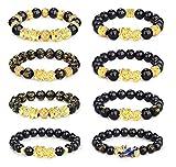 CASSIECA 8pcs Pulseras Feng Shui Bracelet Black Obsidiana Pulsera para Hombres Mujeres Pixiu Feng Shui Pulseras Buena Suerte Pulseras Rriqueza Pulseras Elásticas