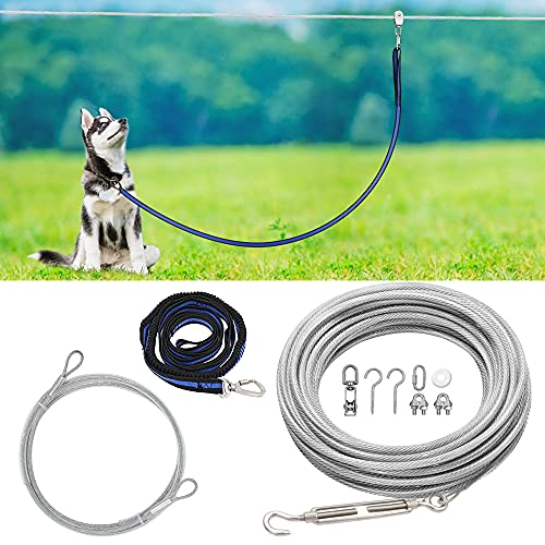 XiaZ Dog Tie Out Cable, 100ft Dog Trolley Runner Cable for Dogs up to 250lbs, Dog Lead for Yard, Camping, Outdoor, with 8 Ft Nylon Bungee Runner, Cable Sling to Protect Trees