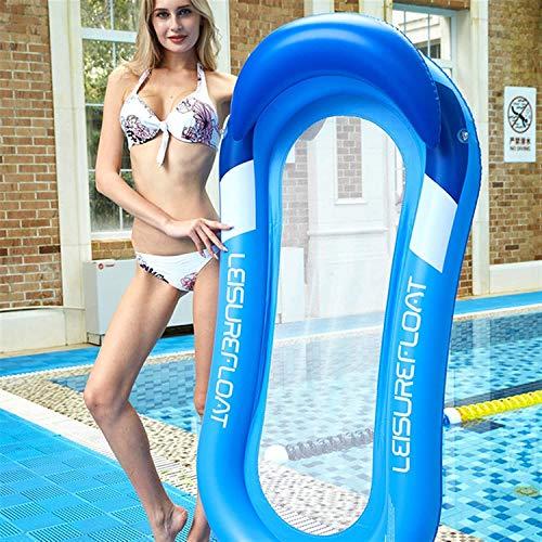 kunst für alle Aufblasbares Schwimmbett Schwimmende Reihe Wasservergnügen Lounge Chair Wasser Aufblasbares Schwimmbett Sofa Wasserbett Lounge Chairs Klappbare Rückenlehne Blue