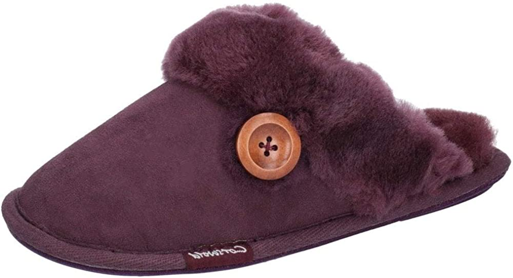 Cotswold Womens Lechlade Sheepskin Mule UK Over item handling 3 Purple Slipper Excellent Size