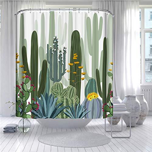 Fansu Cortina de Ducha Antimoho Impermeable Resistente al Moho Antibacteriano, Cortina de Baño Cortina de Bañera 100% Poliéster 3D Impresión con 12 Anillos (Cactus 2,120x180cm)