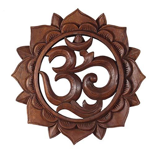 Om Symbol,Aum' Zeichen Mandala Relief Mantra Sanskrit Devanagari Deko Soar Holz Rund, Größe:40 cm Ø