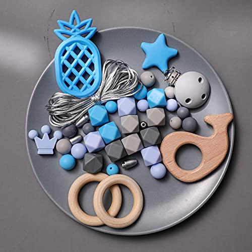 Mamimami Home DIY Pulsera de Enfermería Dientes de silicona Collar Pinzas para chupete Anillo de madera Cuentas de dentición Juguete del bebé Regalo de la ducha de bebé
