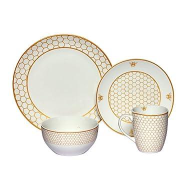 Melange Coupe 16-Piece Porcelain Dinnerware Set (Gold Honeycomb) | Service for 4 | Microwave, Dishwasher & Oven Safe | Dinner Plate, Salad Plate, Soup Bowl & Mug (4 Each)