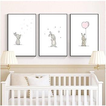 Bunny Nursery Art Peinture Sur Toile Nordic Affiches Et Imprimer Mignon Dessin Anime Animal Mur Photos Pour Bebes Filles Chambre Decoration 30x40x3pcscm Sans Cadre Amazon Fr Cuisine Maison