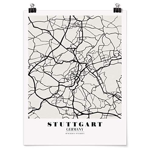 Bilderwelten Poster Wanddeko Kunstdruck Stadtplan Stuttgart - Klassik Matt 80 x 60cm