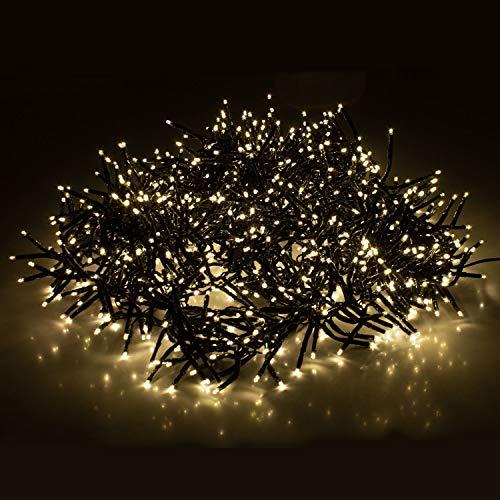 Cluster Lichterkette 1152 LEDs 8,4m 840cm Warmweiß mit 8 Lichteffekten Innen und Außen Beleuchtung Deko Weihnachten
