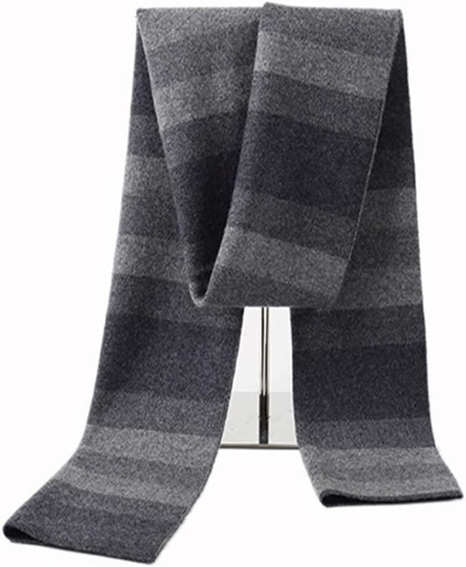 Teerwere Men's Scarves Men's Knitted Stripe Scarf Gifts Middle-Aged Leadership Business Gift Box Mens Plaid Scarf (Color : Gray, Size : 175x30cm)