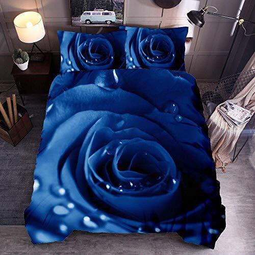 Juego de Ropa de Cama Rosa Funda De Edredón 3D Imprimiendo, Cremallera Funda Nórdica y Funda de Almohada 220cm x 240cm