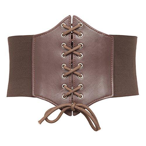 GRACE KARIN Lace-up Cinch Belt Tied Corset Elastic Waist Belt(M,Coffee)