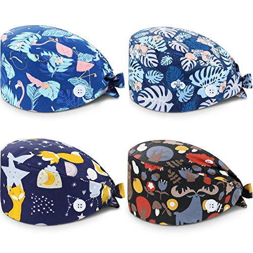 SATINIOR 4 Pack Scrub Cap Printed Bouffant Turban Cap Adjustable Bouffant Hair Cover Unisex Doctor Cap with Sweatband for Beauty Worker Personal Care Supplies