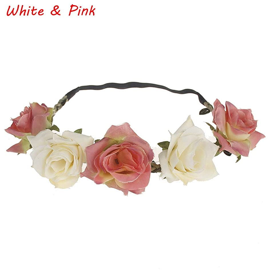 Fashion Women Rose Flower Wreath Crown Headband Beach Floral Garlands Hair band (Color - White Pink)