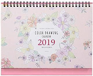 "'Color Drawing' 2019 Calendar Planner Coloring Desk Calendar 12 Months Desk Easel Calendar Wire Bound Coloring Book Planner Organizer Agenda Planner DIY Calendar, 9.4""X7.9"" (Pink)"