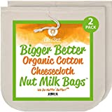 Nut Milk Bags - Organic Cotton Cheesecloth - Pro Quality Unbleached 12'x12' 2 Pack - Perfect Size Mesh Strainer for Almond Milk-Cheese-Tea-Yogurt-Juices-Wine-Soup-Herbs - Durable Reusable Washable