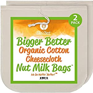 """Nut Milk Bags - Organic Cotton Cheesecloth - Pro Quality Unbleached 12""""x12"""" 2 Pack - Perfect Size Mesh Strainer for Almond Milk-Cheese-Tea-Yogurt-Juices-Wine-Soup-Herbs - Durable Reusable Washable 