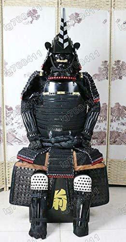手作り甲冑 兜 等身大鎧 成人用 ウェアラブルな日本の武装鎧 鉄スーツブラック 織る O32