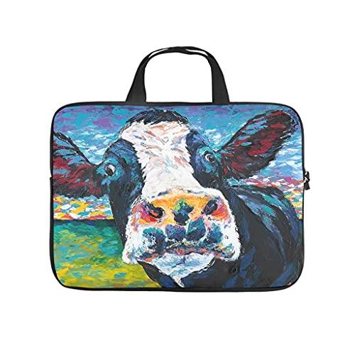 Facbalaign Funda para portátil de imitación con diseño de vaca, duradera, suave, resistente al desgaste, con asa.