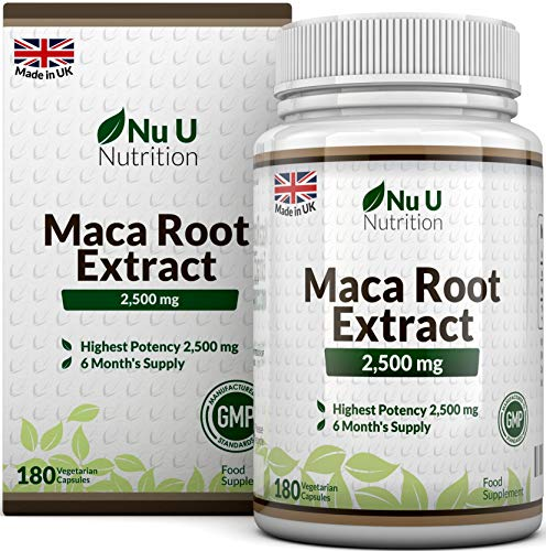 Maca-Wurzel 2500 mg hochdosiert - mit wichtigen Vitalstoffen - 6-Monats-Versorgung - 180 Kapseln -...