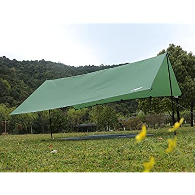 Luxe Tempo All Purpose Extra Large Camping Tent Rain Tarp Hammock Rain Fly Sun Shelter-10 X 11.5 ft 2 collapsible poles Green