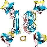 Globos con el número 18 con el número 18, arco iris, 18 números, 80 cm, XL, para niña, niño, hinchables, forma de corazón, helio, estrella, cumpleaños, fiesta, decoración