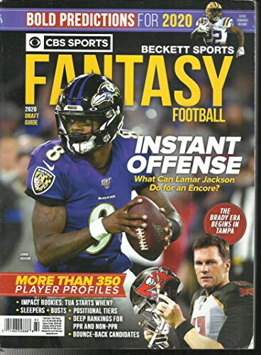 CBS SPORTS BECKETT SPORTS FANTASY FOOTBALL MAGAZINE, 2020 DRAFT GUIDE ISSUE, 2020 DISPLAY UNTIL AUGUST, 18th 2020 ( PLEASE NOTE: ALL THESE MAGAZINES ARE PETS & SMOKE FREE. NO ADDRESS LABEL, FRESH STRAIGHT FROM NEWSSTAND. (SINGLE ISSUE MAGAZINE)