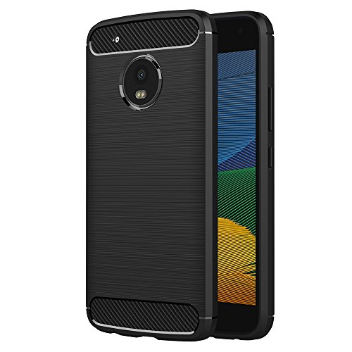 AICEK Lenovo Moto G5 Case, Black Silicone Cover for Motorola Moto G5 Bumper Covers Moto G5 Black Carbon Fiber Case