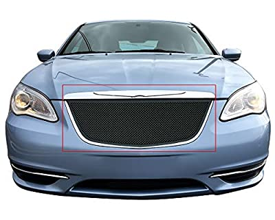 APS Compatible with 2011-2014 Chrysler 200 Upper Stainless Steel Black Mesh Grille S18-H27867R
