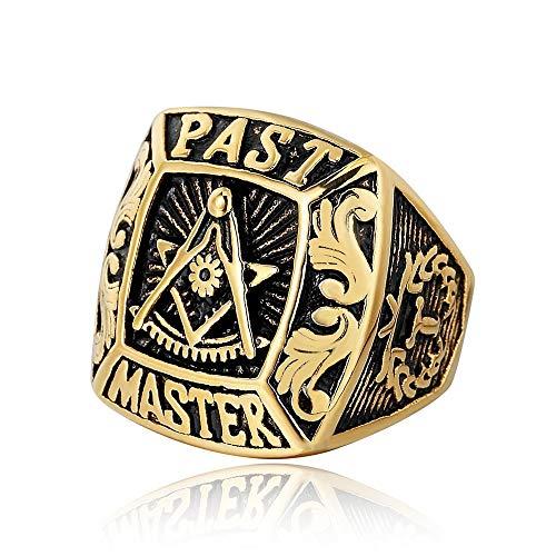 Joyería De Moda De Acero Inoxidable Vintage Charm Mason Freemason Anillos Masónicos Para Hombres Mujeres Tamaño 9