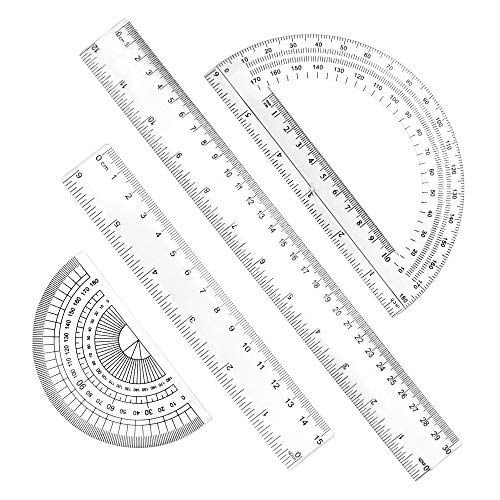 RMENOOR 4 Stück Geometrie Set Kunststoff Geometrieset Durchsichtig Math Geometry set mit 2 in 1 Winkelmesser, 15cm Lineal, 30cm Lineal, 180 ° Goniometer für Schule und Büro