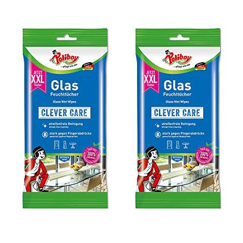 Poliboy - Toallitas húmedas de cristal XXL, sin rayas, limpieza rápida, para los pequeños problemas de la vida cotidiana, 2 paquetes de 24 toallitas