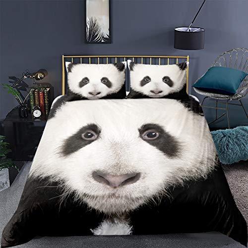 Loussiesd Panda Drucken Bettwäsche 135x200cm Kinder Bettwäsche Set für Mädchen Jungen Panda Bettbezug Set Weiß schwarz 3D Tier Betten Set Weich Atmungsaktiv Mikrofaser Bettwäsche Niedlich Panda