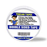 Teegan Tapes Double Sided Carpet Tape for Area Rugs, Residue-Free, 1-Inch x 30 Yards; Wood Safe 2 Faced Rug Tape for Carpet to Floor and Rug to Carpet Applications, Strong Hold