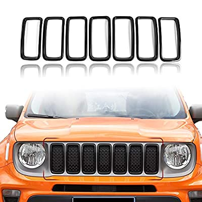 for Jeep Renegade 2019 2020 Front Grille Inserts, Exterior Accessories ABS Black 7 Pack