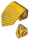 LORENZO CANA - Luxus Krawatte mit Einstecktuch - Marken 2er Set aus 100% Seide - Gold Gelb Goldgelb einfarbig - 84325