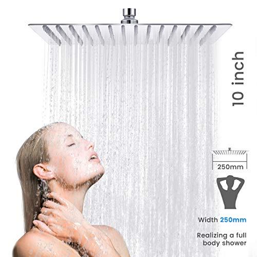 Duschkopf Regendusche, Baban10 Zoll Quadrat Einbauduschköpfe,200% Hochdruck Kopfbrause, 2mm ultradünne Top Spray Brausekopf, medizinischen Silikon-Wasserauslass, Edelstahl poliert Spiegeleffekt