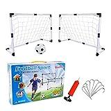 Juego de 2 Mini Porterías de Fútbol Plegable Portátil para Niños, Jaula de Fútbol Rápido de Instalar, Soccer Goal Net con Fútbol y Bomba Ideal para Entrenamiento en Jardines