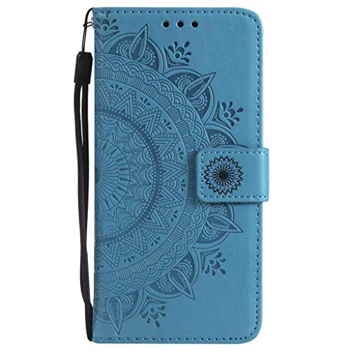 HMTECH Galaxy A9 2018 Coque Tournesol Totem à gaufrage Housse Flip PU Portefeuille Magnétique Stand Cuir Housse Coquille Couverture Compatible with Samsung Galaxy A9 2018,Half Totem Blue