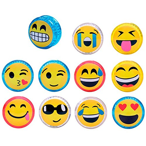 DISOK Lote de 12 Yo Yo Emoticonos con Luz - Yoyos Originales