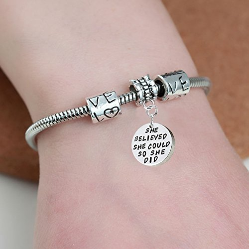 """""""She believed she could so she did"""" Pendant Bracelet – Friends Family Jewelry Gift – 10''"""