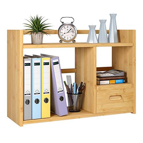 HOMECHO Organizer Schreibtisch Büro Tisch Organisation Bambus Briefablage A4, Notizzettel und Stifte ordnen, Schublade, Ordnungssystem Büro HBT: 57.5×40×20 cm